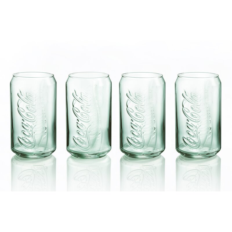Coca-Cola Coke Green Glass Can Cup Coke Drink NEW 12-OZ Set Of TWO