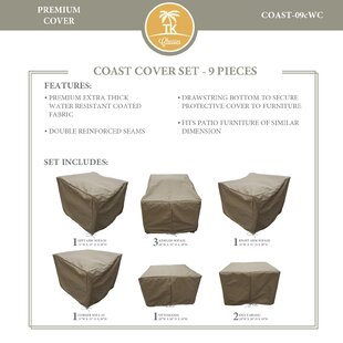 TK Classics Coast 9 Piece Protective Patio Sofa Set Cover