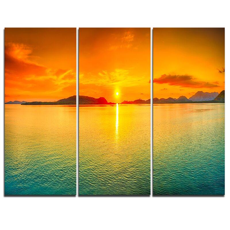 Designart Sunset Panorama 3 Piece Graphic Art On Wrapped Canvas Set Wayfair