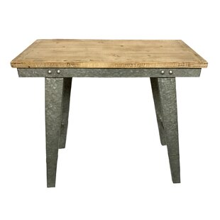 Gracie Oaks Pickard Wood and Galvanized Farmhouse Work Table