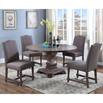 Arielle 5 Piece Round Dining Set Upholstery Color: Otter by Alcott Hill