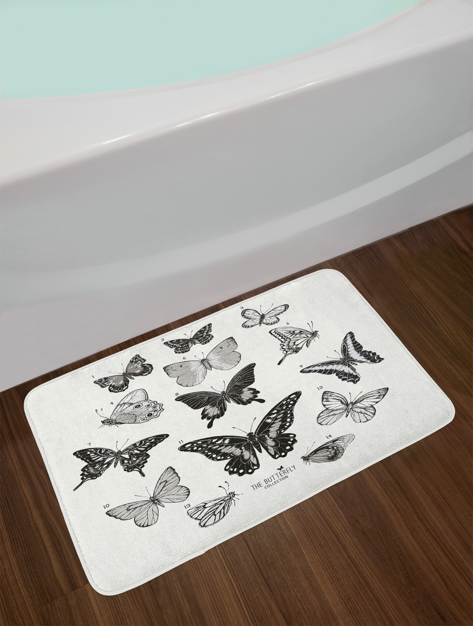 East Urban Home Erfly Large Collection Of Hand Drawn Erflies Realistic Artwork Non Slip Plush Bath Rug Wayfair