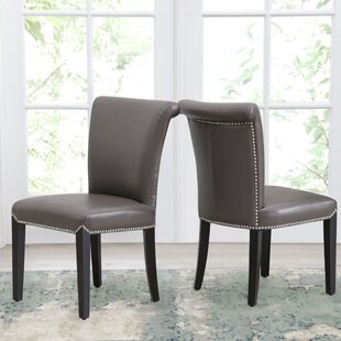 Suzanne Genuine Leather Upholstered Dining Chair (Set of 2)