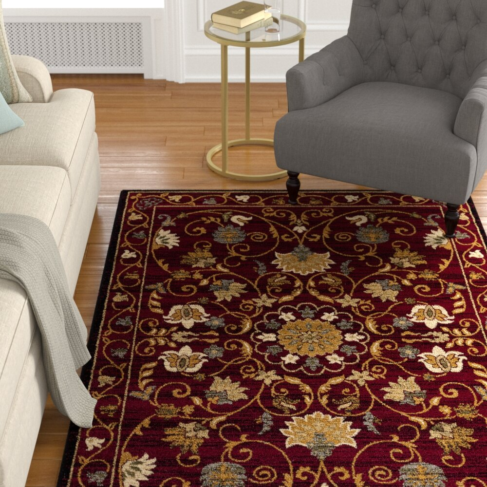 Area rug contemporary floral living room Red