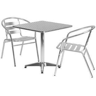 Ebern Designs Lucius Square Indoor Outdoor 2 Piece Bar Height Dining Set