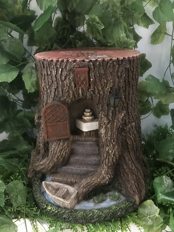 Tree Stump House With Stairs Boat And Lights Fairy Garden