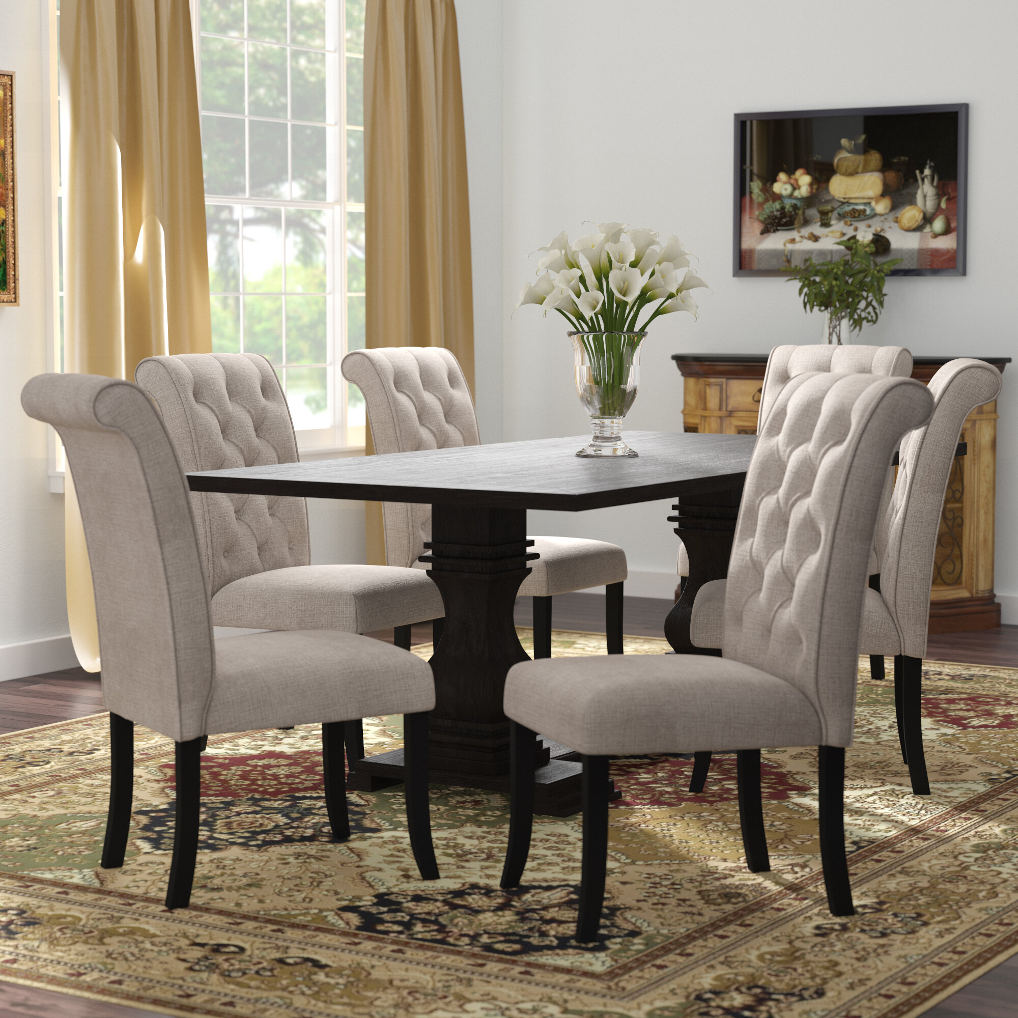 Darby Home Co Coyer 7 Piece Solid Wood Dining Set Reviews Wayfair