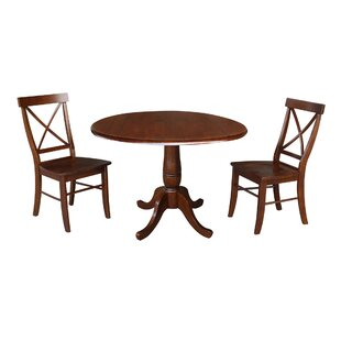 Gilleasbuig Round Top 3 Piece Drop Leaf Solid Wood Dining Set by Rosalind Wheeler