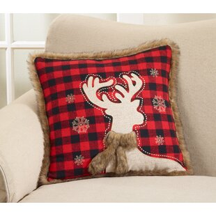 Bass Plaid Reindeer Throw Pillow