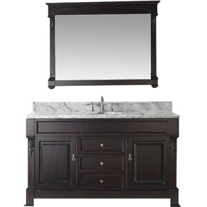 Huntshire 60 Single Bathroom Vanity Set With White Marble Top And Mirror