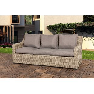 Dejesus Patio Wicker Sofa with Cushion by Rosecliff Heights