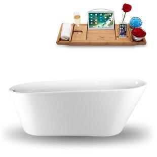 61 x 30 Freestanding Soaking Bathtub with Tray by Streamline Bath