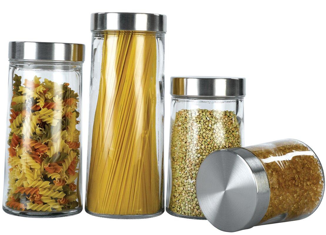 euro ware glass plain 4 piece kitchen canister set reviews wayfair default name