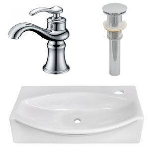 American Imaginations Ceramic Specialty Vessel Bathroom Sink with Faucet