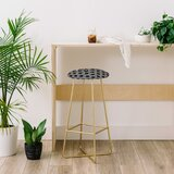 Kelly Haines Black Concrete Hexagons 30 Bar Stool by East Urban Home