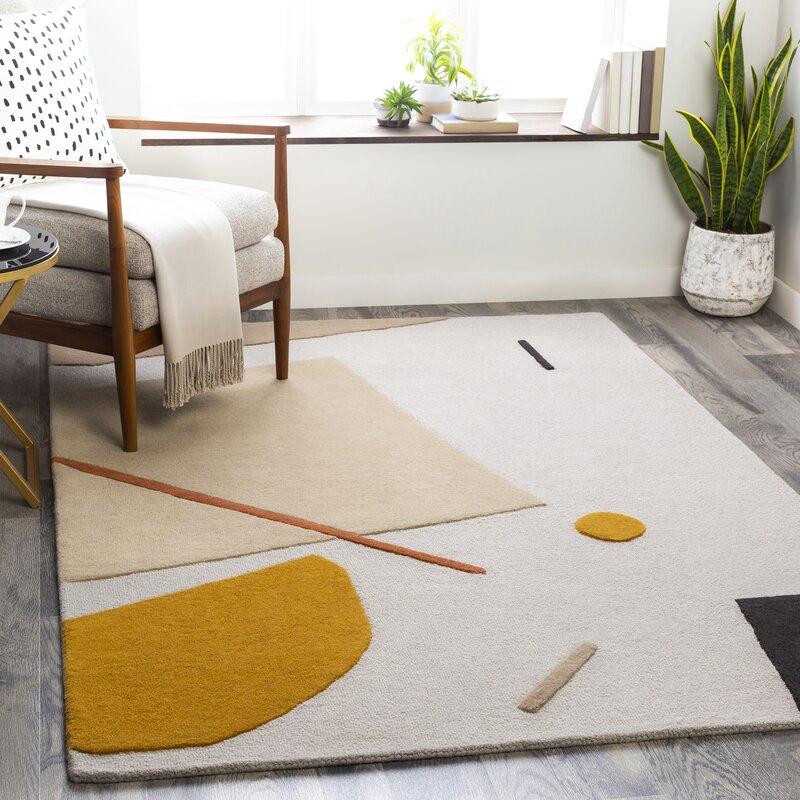 Primiano Hand Tufted Wool Beige Orange Rug Reviews Allmodern