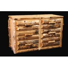 Aspen Half Log Front 6 Drawer Dresser by Utah Mountain