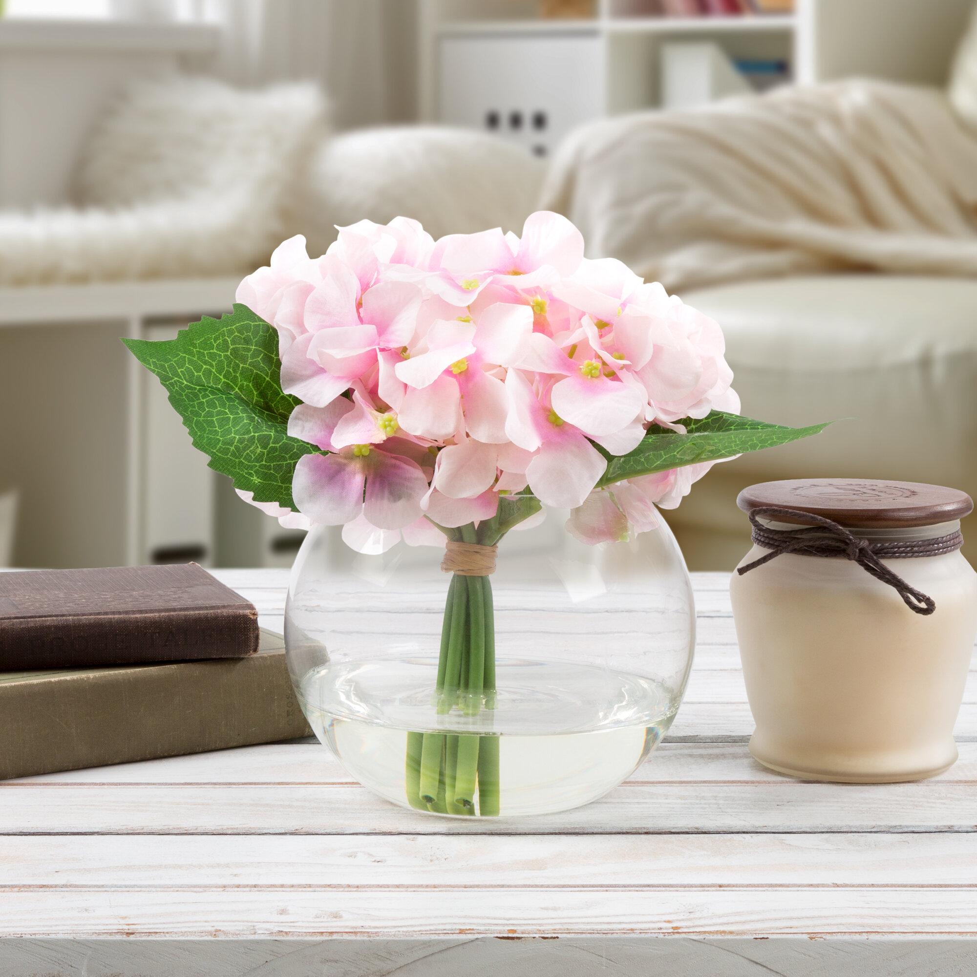 Hydrangeas Floral Arrangement In Glass Vase