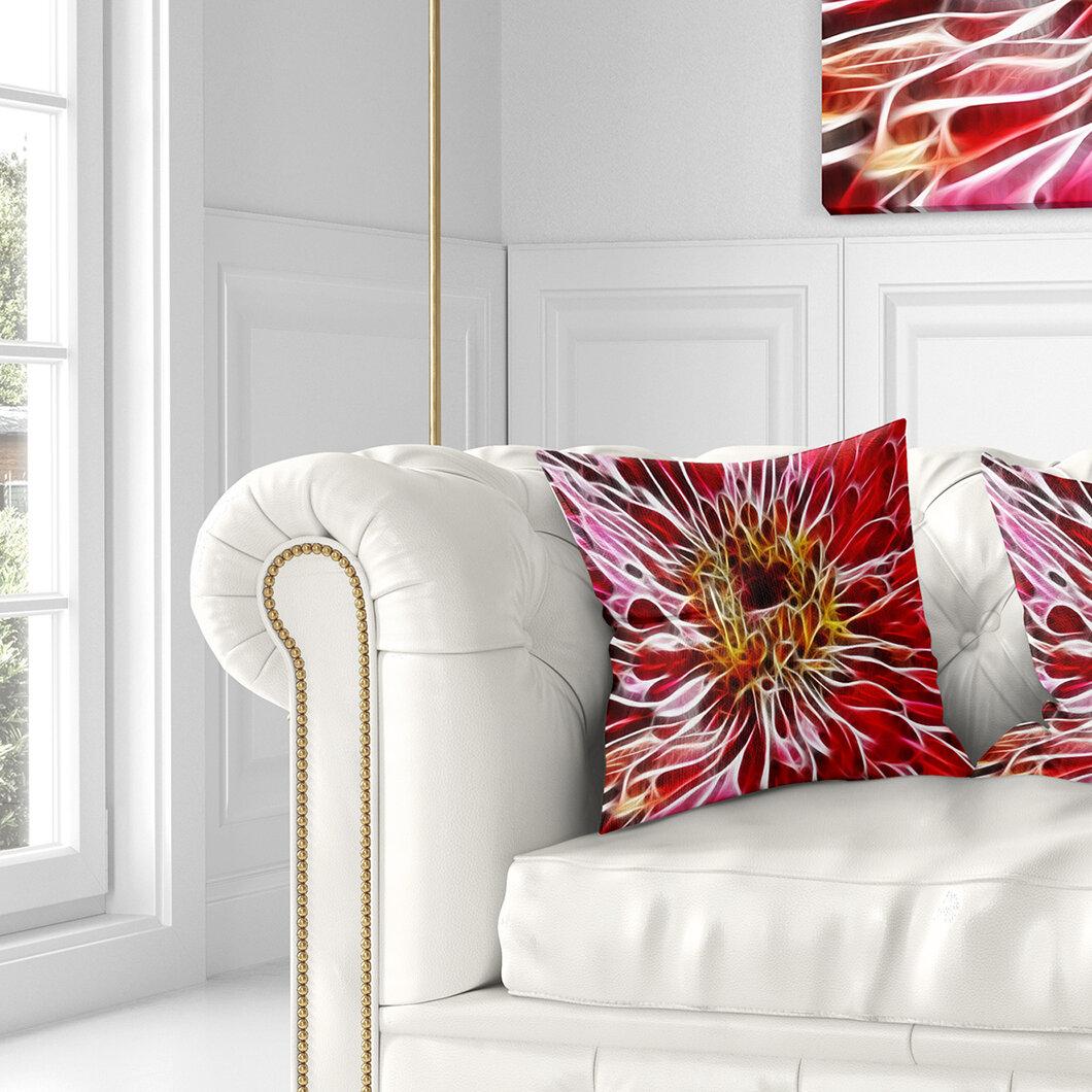 East Urban Home Floral Digital Art Fractal Flower Pillow Wayfair