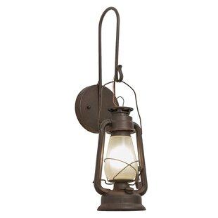 Best Reviews Greenbriar Oak 1-Light Miner's Lantern Wall Sconce By Meyda Tiffany
