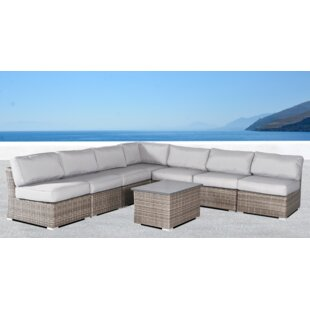 Rosecliff Heights Huddleson 8 Piece Sectional Seating Group with Cushions