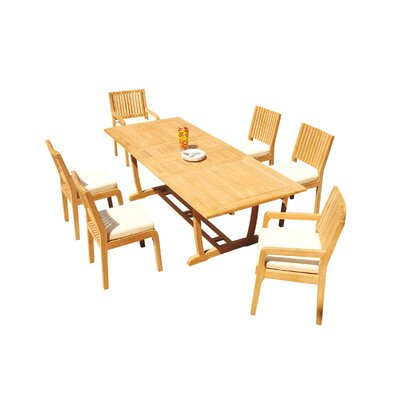 Maskell 7 Piece Teak Dining Set by Rosecliff Heights Coupon
