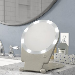 Compare prices Kristi 10x Lighted Round Travel and Home Mirror By Symple Stuff