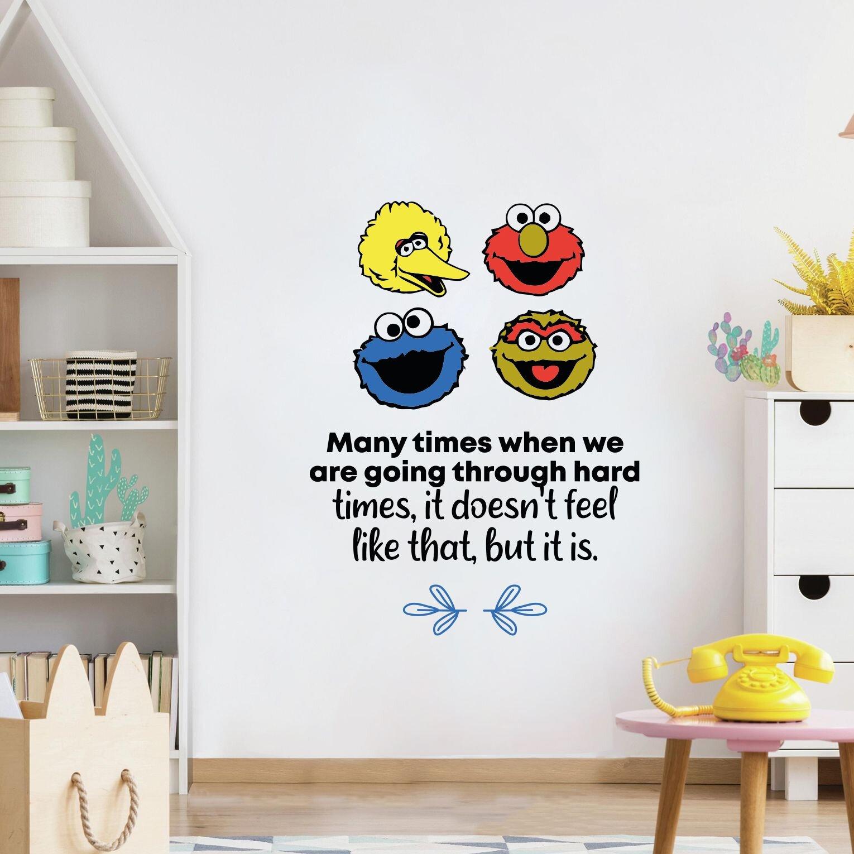 Image of: Design With Vinyl Hard Times Sesame Street Life Cartoon Quotes Wall Sticker Art Design Decal For Girls Boys Kids Room Home Decor Stickers Wall Art Vinyl 10×8 Inch Wayfair