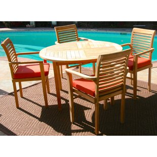 Teak 5 Piece Teak Sunbrella Dining Set with Cushions by IKsunTeak