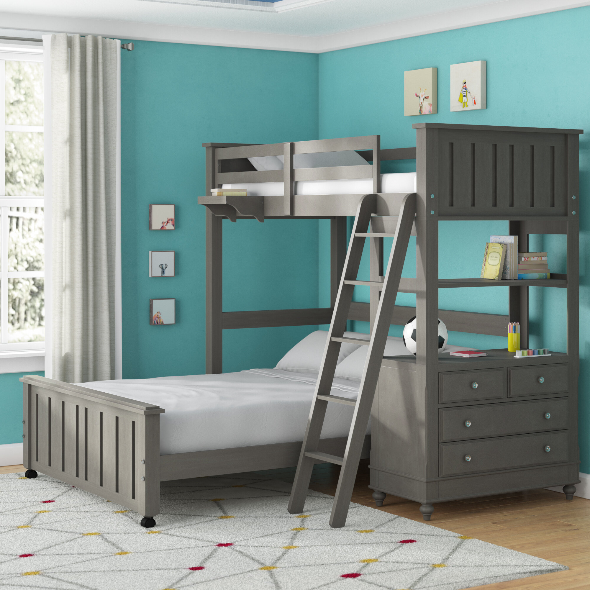 Picture of: Viv Rae Biggs Twin Over Full L Shaped Bunk Bed Reviews
