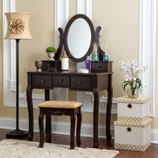 House of Hampton Bratcher Single Mirror Dressing Table 5 Organization Drawer Vanity Set