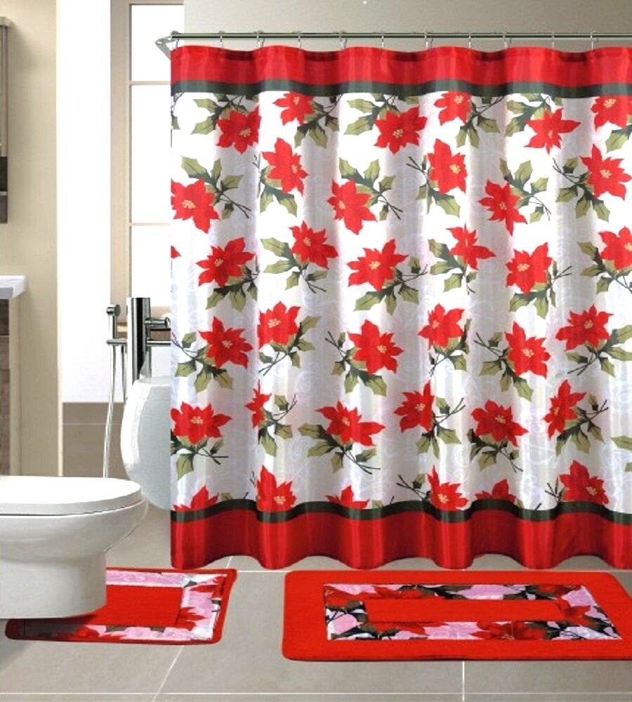 the holiday aisle 15 piece christmas shower curtain set reviews wayfair