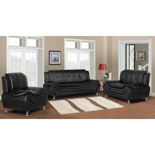 Raveena Faux Leather Livingroom 3Pc Set by Ivy Bronx