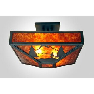 Timber Ridge 4-Light Post Drop Semi Flush Mount by Steel Partners