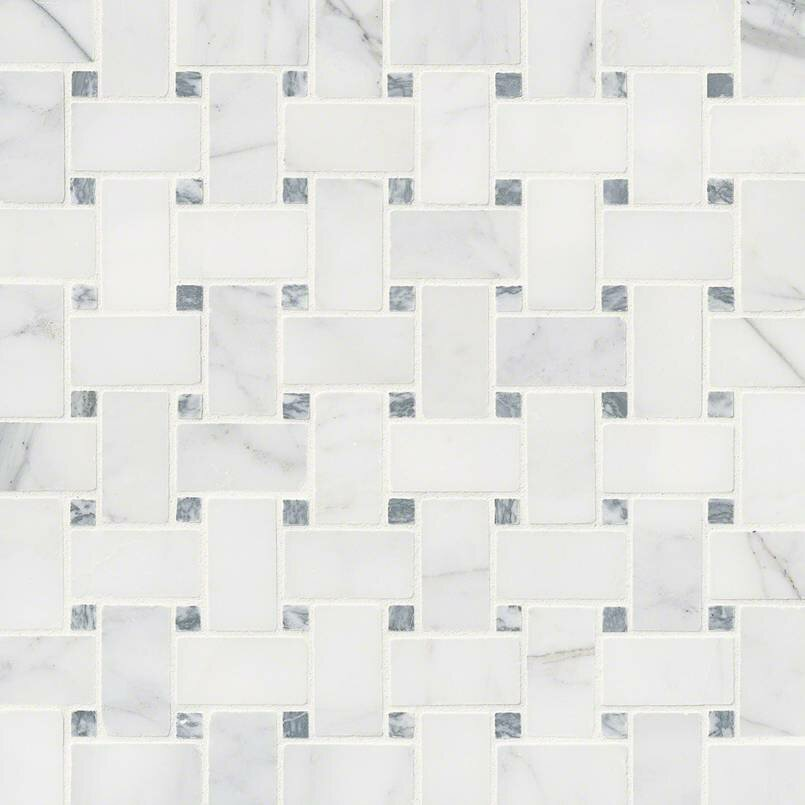 Msi Calacatta Cressa Basketweave Honed Marble Mosaic Tile