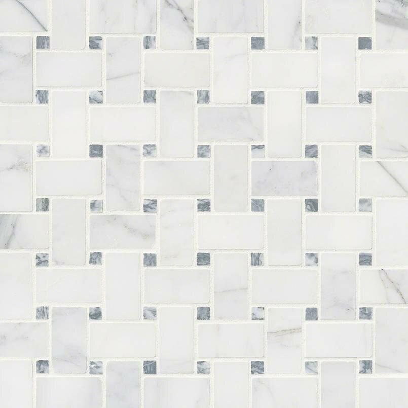 Msi Calacatta Cressa Basketweave Honed Marble Mosaic Tile In White Reviews Wayfair