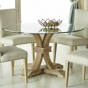 Glass Wood Dining Table Round glass kitchen & dining tables you'll love | wayfair