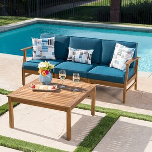 Fassett Outdoor 2 Piece Sofa Set with Cushions