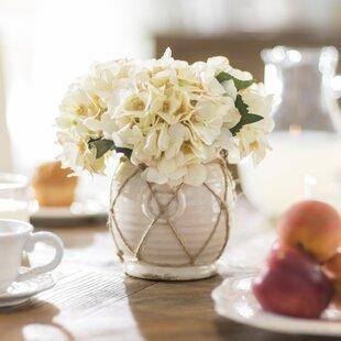 Hydrangea in Distressed Glaze Planter Floral Arrangement