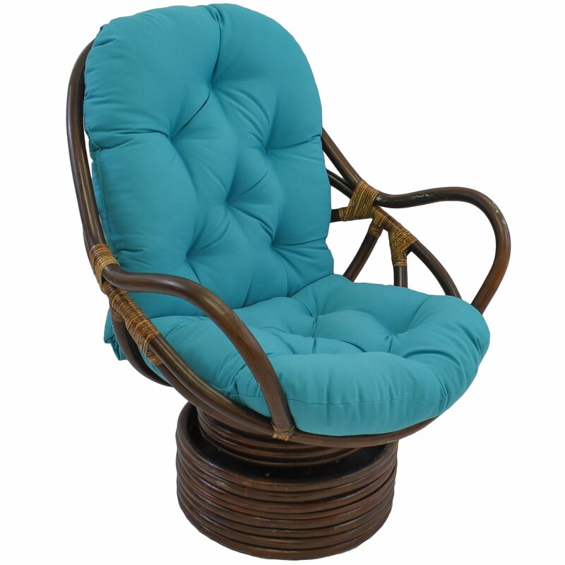 Benahid Outdoor Rattan Swivel Chair With Cushion