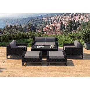 SunHaven Santino 7 Piece Rattan Sofa Seating Group with Cushions