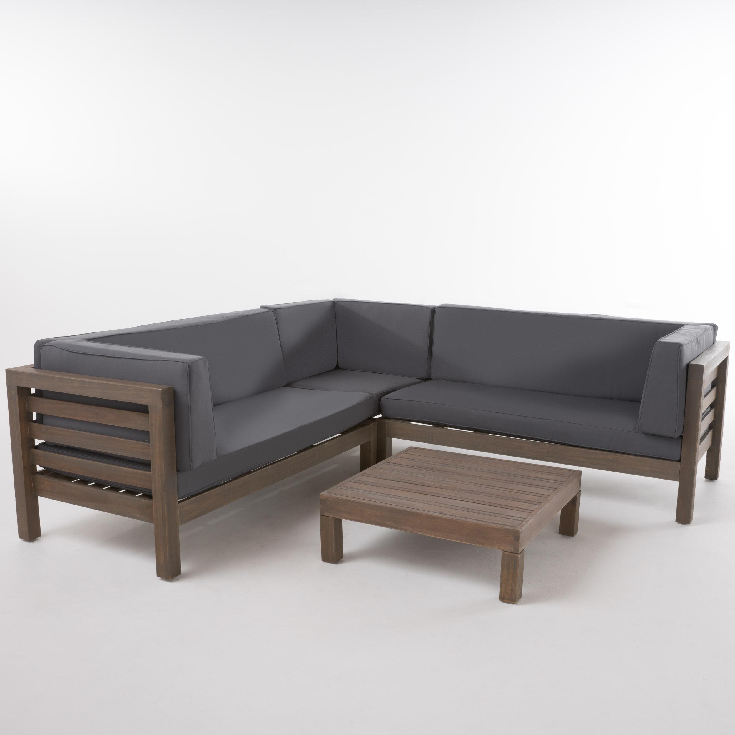 Gracie Oaks Birdsboro 4 Piece Sectional Set With Cushions U0026 Reviews |  Wayfair