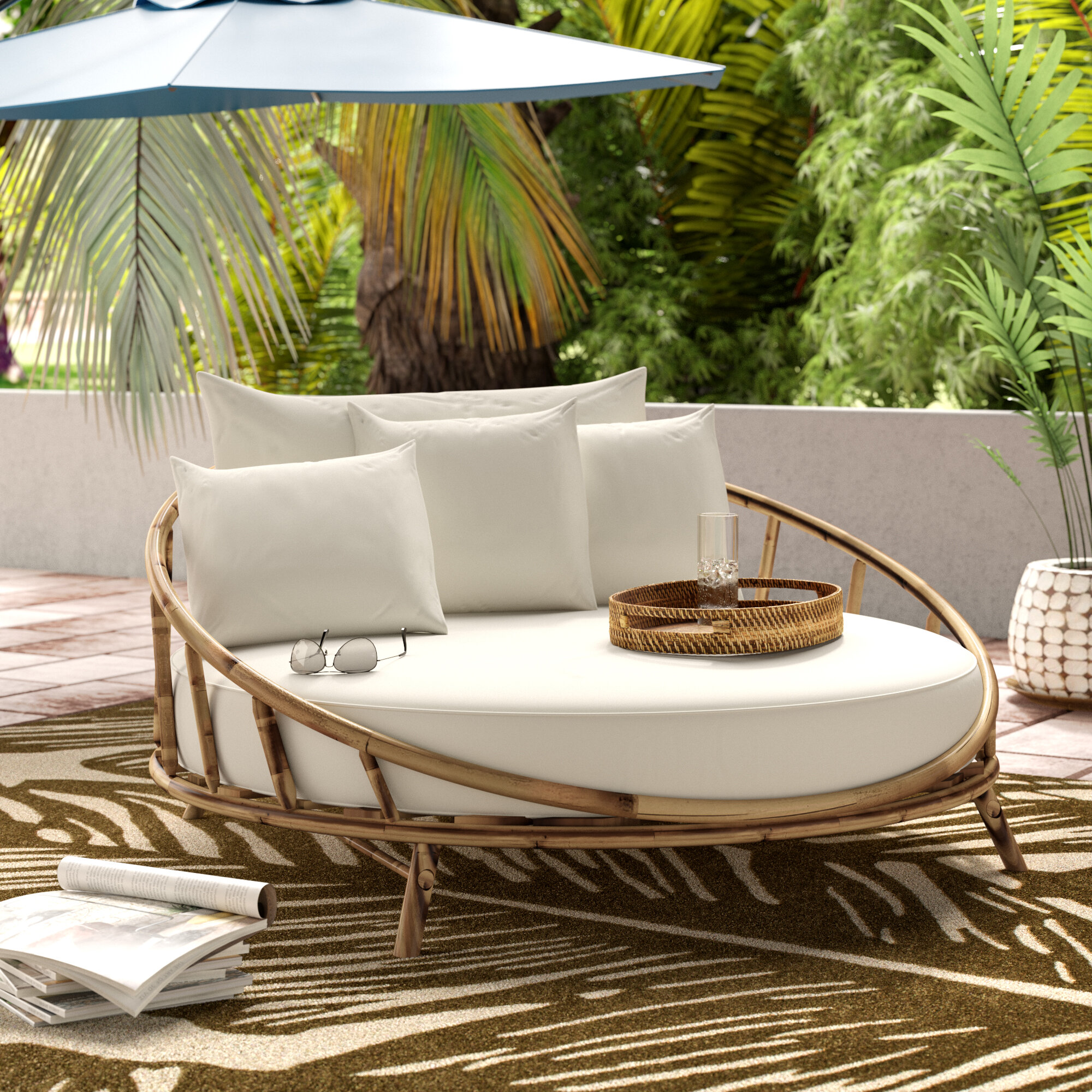 Olu bamboo large round patio daybed with cushions reviews joss main