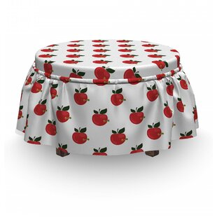 Comic Apples Worms Ottoman Slipcover (Set Of 2) By East Urban Home