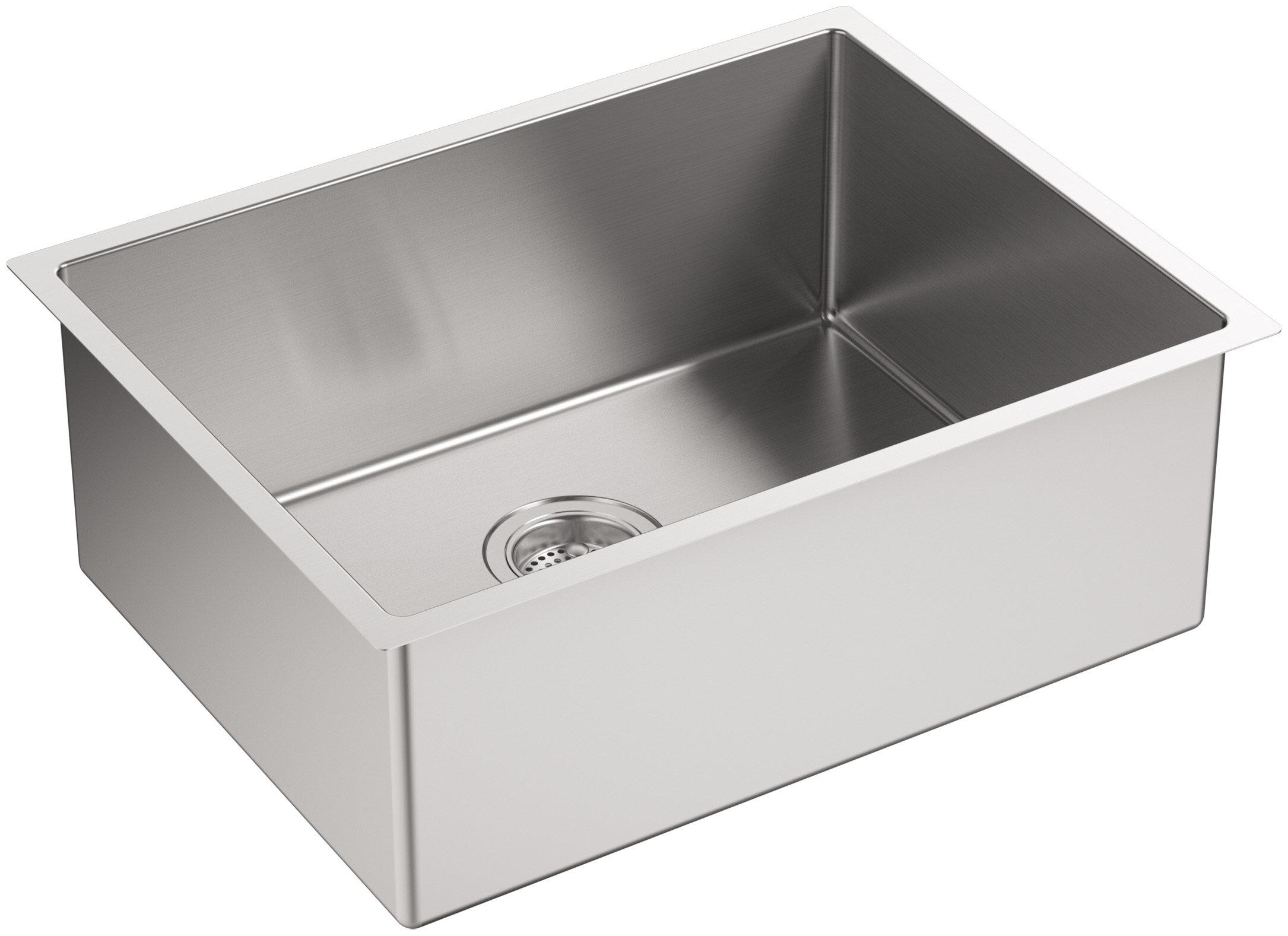 Strive 24 l x 18 1 4 w x 9 5 16 under mount single bowl kitchen sink with basin rack reviews joss main