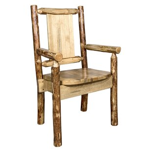 Rivas Rustic Captain's Solid Wood Dining Arm Chair Loon Peak