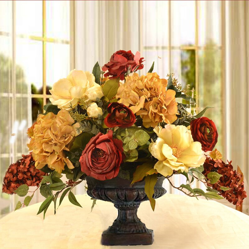 floral home decor mixed centerpiece in decorative vase & reviews