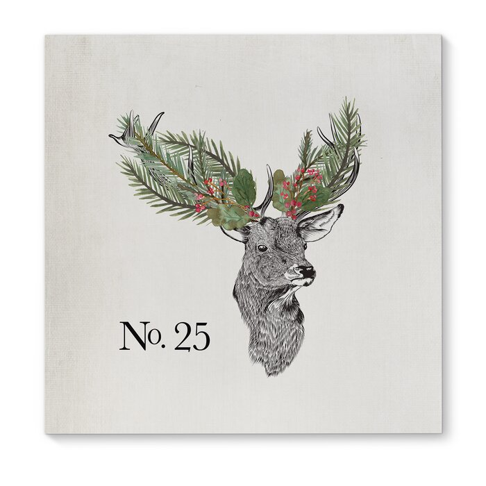 \'Christmas Deer\' Square Frame Graphic Art Print on Canvas
