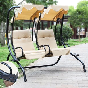 Ridgedale Covered Double Porch Swing with Stand by Alcott Hill