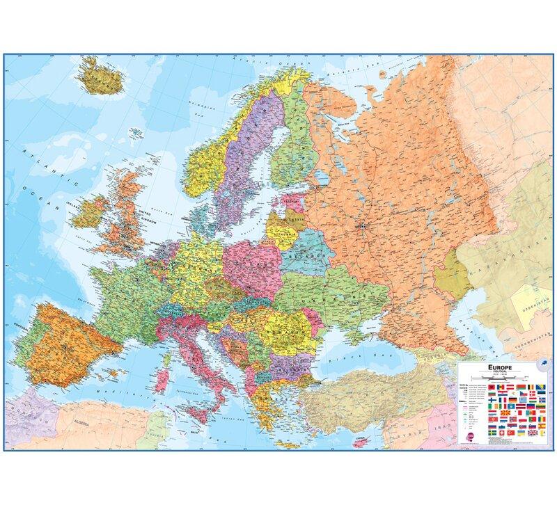 Waypoint Geographic Europe 1 4 3 Laminated Wall Map Wayfair Ca